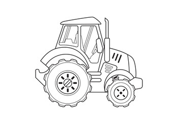 Blue Tractor Side View Coloring Book. Line Art.