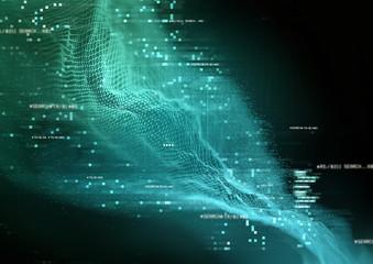 futuristic Data Visualization infographic  - concept. 3D Illustration