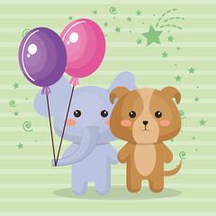 cute elephant and doggy sweet kawaii birthday card vector illustration design
