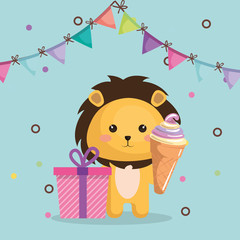 cute lion with gift and ice cream kawaii birthday card vector illustration design