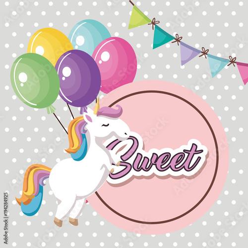 Cute Unicorn With Balloons Air Kawaii Character Birthday Card Vector
