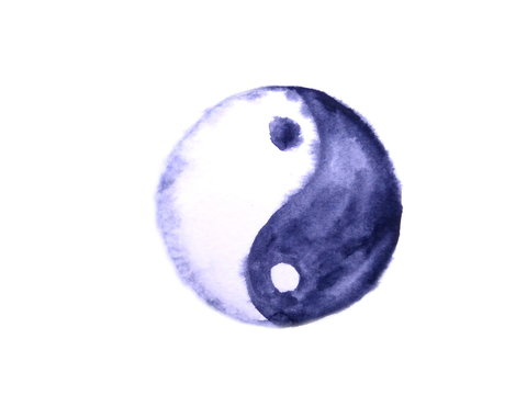 watercolor yin yang symbol isolated on white background.hand drawn wet on wet.
