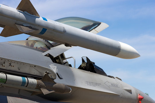 Armed military fighter jet wing missile