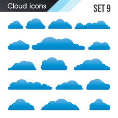 Set of cartoon clouds on a white background