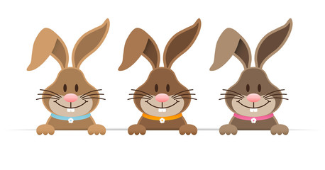 3 Easter Bunnies Horizontal Banner