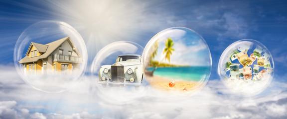 Haus, Auto, Reisen und Geld
