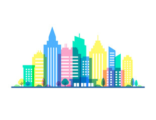 City illustration with punchy pastels colors. Flat style silhouettes of buildings on white background. Cityscape background in pastel colors. Urban life.
