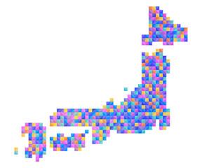 日本地図カラフルランダムドット絵イラスト青紫