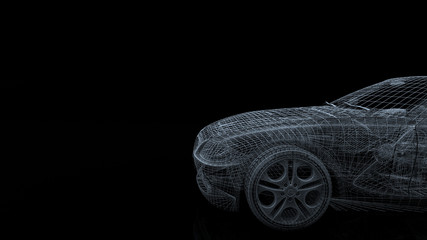 car model body structure, wire model with Reflect 3d rendering