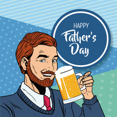 Happy fathers day pop art card vector illustration graphic design