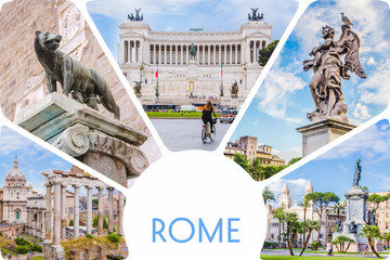 Photo collage/set of sunny Rome - Roman Forum, statue on bridge of Saint Angel, Piazza Venezia main attractions of Roma, Italy.