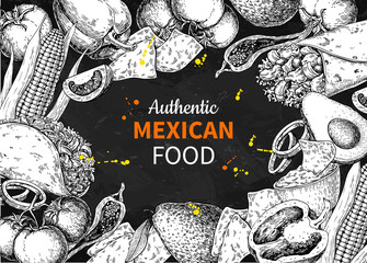 Mexican food sketch label in frame. Vector Traditional cuisines