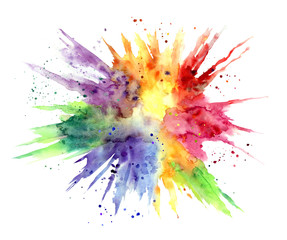 Rainbow watercolor stain in the form of an explosion on a white background, isolated with clipping path.