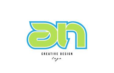 blue green alphabet letter an a n logo icon design