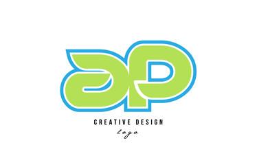 blue green alphabet letter ap a p logo icon design