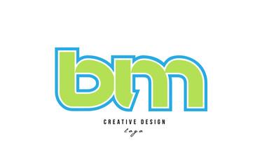 blue green alphabet letter bm b m logo icon design