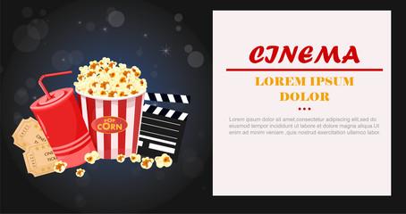 Juice, Popcorn and movie tickets Vector illustration