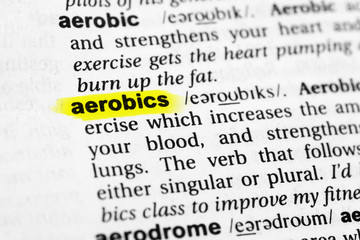"Highlighted English word ""aerobics"" and its definition in the dictionary"