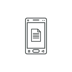 linear mobile phone icon with document sign