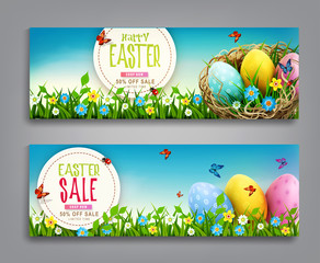 Vector set illustration. Easter vintage  sale banner, advertising round card with eggs lying in a wicker basket  and with green grass against the background of  blue sky.