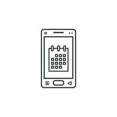 linear mobile phone icon with calendar symbol