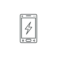 linear mobile phone icon with a sign of lightning