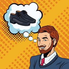Man thinking in shopping pop art vector illustration graphic design