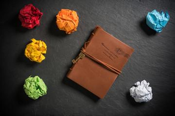 Notizbuch mit vielen verworfenen Varianten