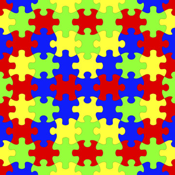 Seamless colorful symmetric jigsaw puzzles background, 3D illustration