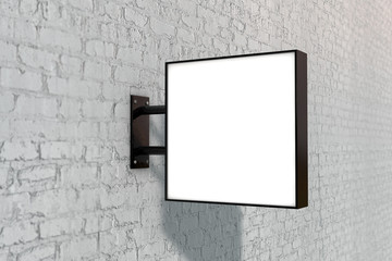 Blank white company store sign mock up on a wall. 3D Rendering Fotomurales