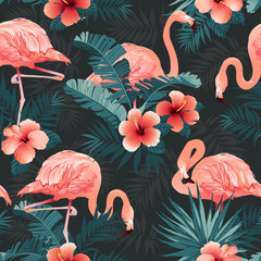 Beautiful Flamingo Bird and Tropical Flowers Background. Seamless pattern vector.