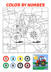 Color by Number is an educational game for children. Red Tractor.