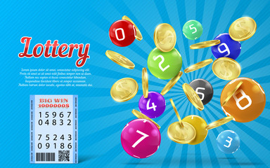 Vector lottery banner with realistic golden coins, colorful balls with numbers, bingo game background. Lotto, keno, million dollars prize, big win advertising poster. Gambling concept illustration
