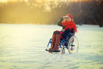 adult woman on wheelchair