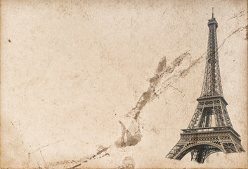 Paris Eiffel tower Used paper texture