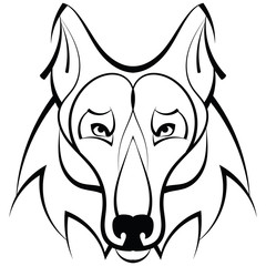 Beautiful wolf tattoo.Vector wolf's head as a design element on isolated background