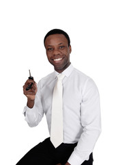 Happy African man with his car key's