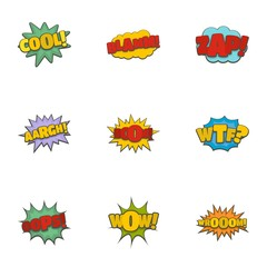 Record label icons set. Cartoon set of 9 record label vector icons for web isolated on white background