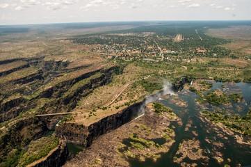 Le Victoria Falls viste dall'elicottero