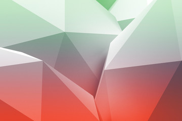 Low poly green and red abstract background