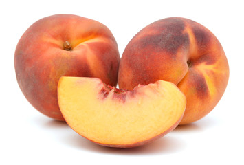 sweet peaches on a white background