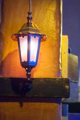 Iron lantern on the wall