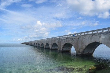 Seven mile bridge in the Florida Keys, on a sunny day with blue cloudy sky
