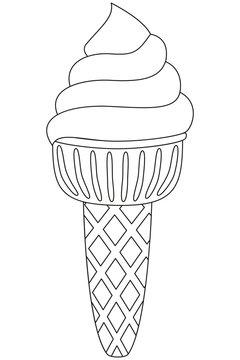 Black and white ice cream line art icon.