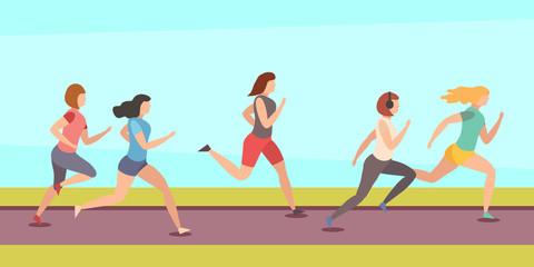 Running girls. Vector flat illustration.