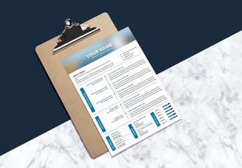 Resume and Cover Letter Layout with Blue Accents 3