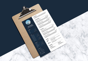 Resume and Cover Letter Layout Set with Dark Blue Sidebar 1