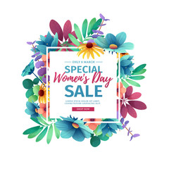 Banner for sale International  Happy Women's Day on flower background. Flyer for March 8 with the decor of floral. Invitations with square frame and flower for offer and discount. Vector