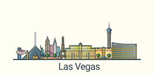 Banner of Las Vegas city in flat line trendy style. All buildings separated and customizible. Line art.