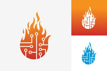 Digital Fire Logo Template Design Vector, Emblem, Design Concept, Creative Symbol, Icon